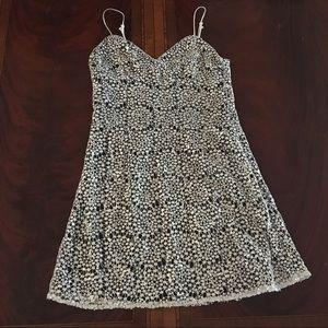 GIANNI BINI Silver Layover Cocktail Mini Dress